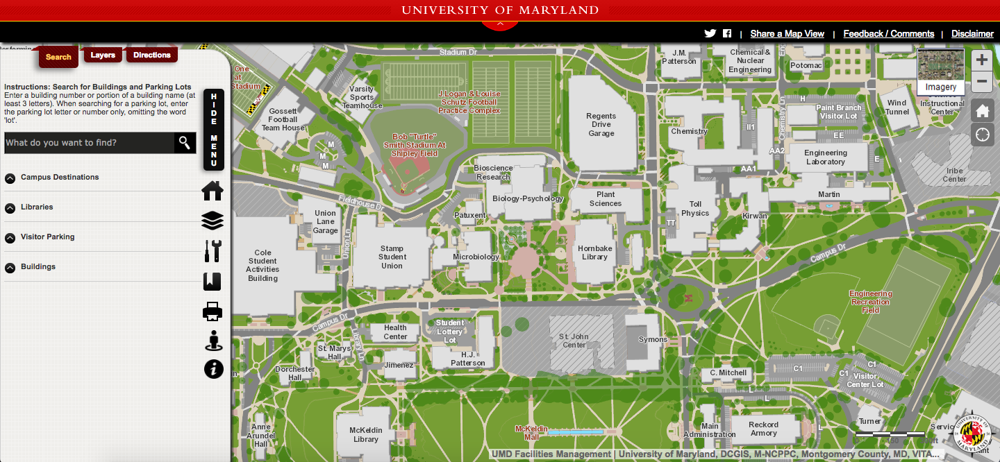 u maryland campus map Umd S Campus Maps Update Gives Users Real Time Directions To